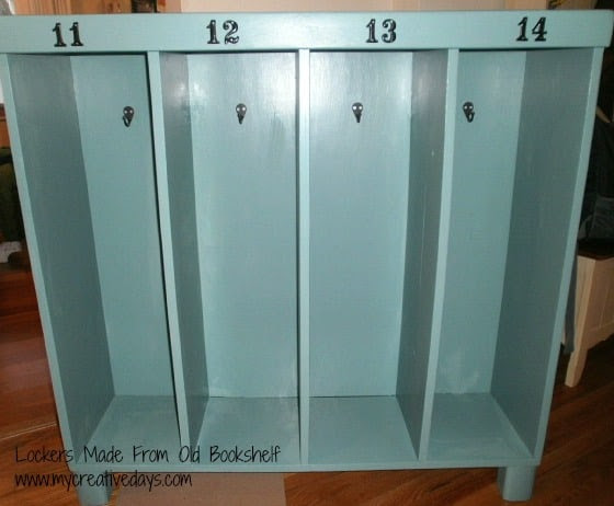 Lockers Made From Old Bookshelf www.mycreativedays.com