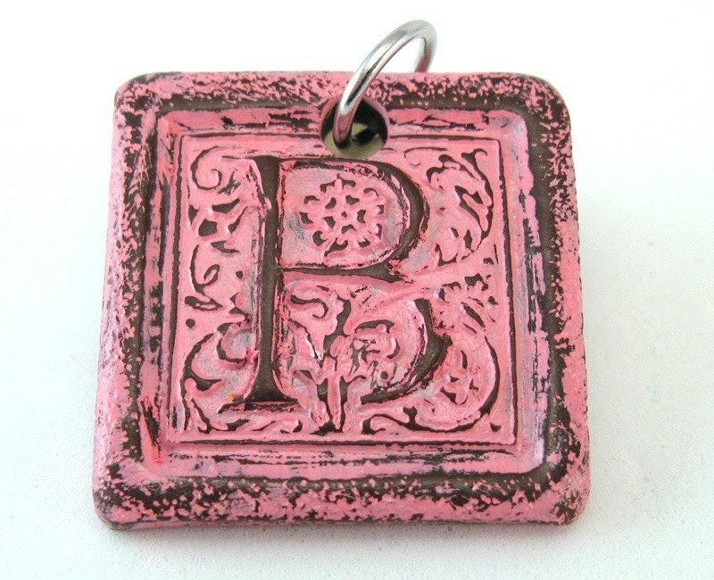 Pretty Pink - Distressed Monogram Pendant