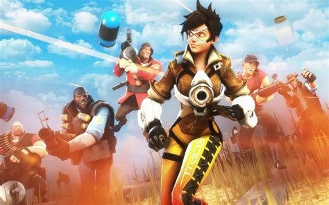 wallpaper tracer team fortress   games