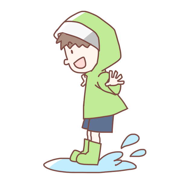水たまりにジャンプする男の子のイラスト かわいいフリー素材が無料の