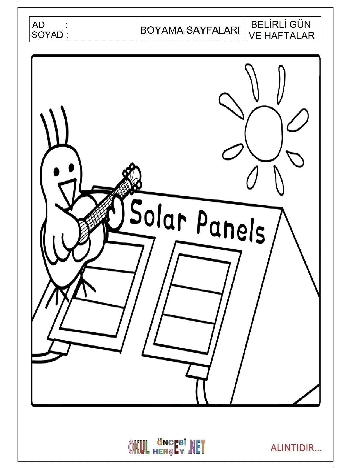 Enerji Tasarrufu Haftası Boyama Sayfaları
