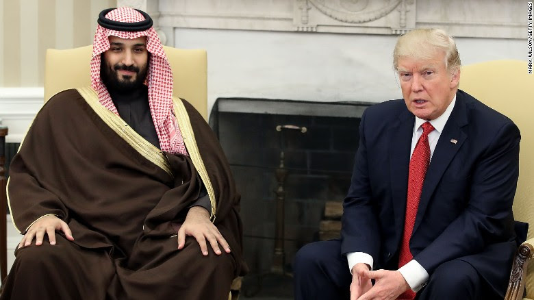 US President Donald Trump meets with Mohammed bin Salman, Deputy Crown Prince and Minister of Defense of the Kingdom of Saudi Arabia, in the Oval Office at the White House on March 14, 2017 in Washington, DC.
