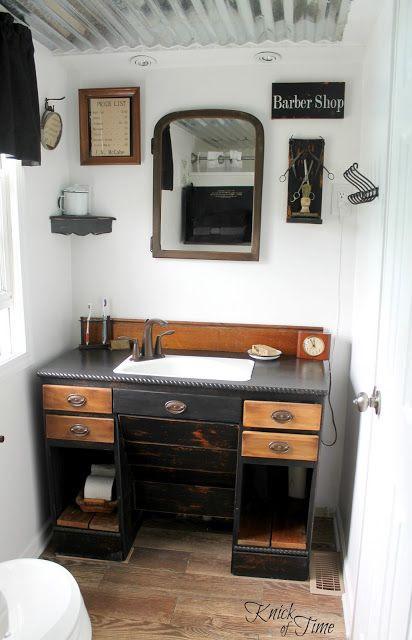 Repurosed Desk into Bathroom Vanity ~~~via   http://knickoftimeinteriors.blogspot.com/