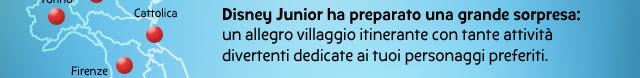 Disney Junior ha preparato una grande sorpresa: un allegro villaggio itinerante con tante attività divertenti dedicate ai tuoi personaggi preferiti.