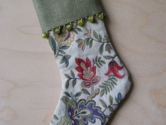 Floral Brocade Christmas Stocking