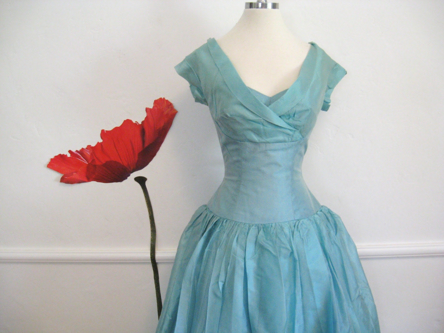 50s GLAM Ice Blue SHELF BUST Vintage DRESS or BALL GOWN