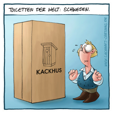 Toiletten der Welt Schweden Kackhus Klowitz Klo Toilette pinkeln IKEA Karton Kiste zusammenbauen auspacken verpackt verpackung Bausatz Heimwerker Cartoon Cartoons Witze witzig witzige lustige Bildwitze Bilderwitze Comic Zeichnungen lustig Karikatur Karikaturen Illustrationen Michael Mantel lachhaft Spaß Humor