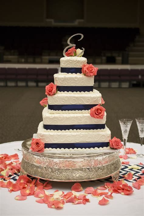 Navy Blue And Coral Wedding Cakes images   WEDDING CAKES