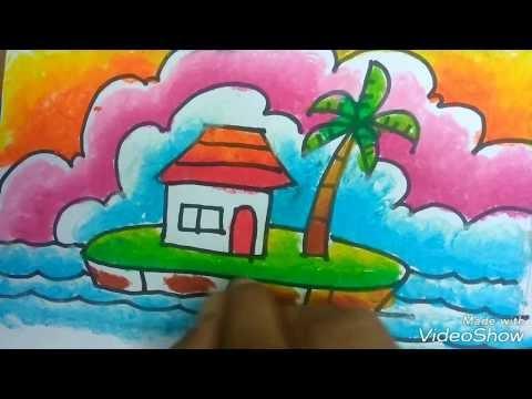 Kumpulan Cara Mewarnai Gambar Pemandangan Dengan Crayon Terbaru