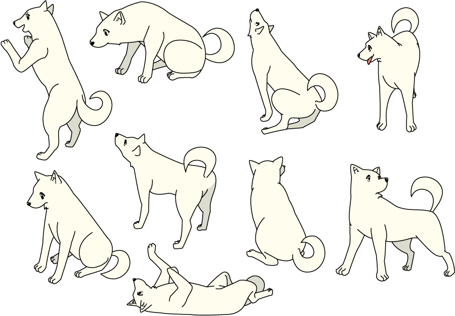 フリーイラスト 9種類のポーズの犬のセットでアハ体験 Gahag 著作権