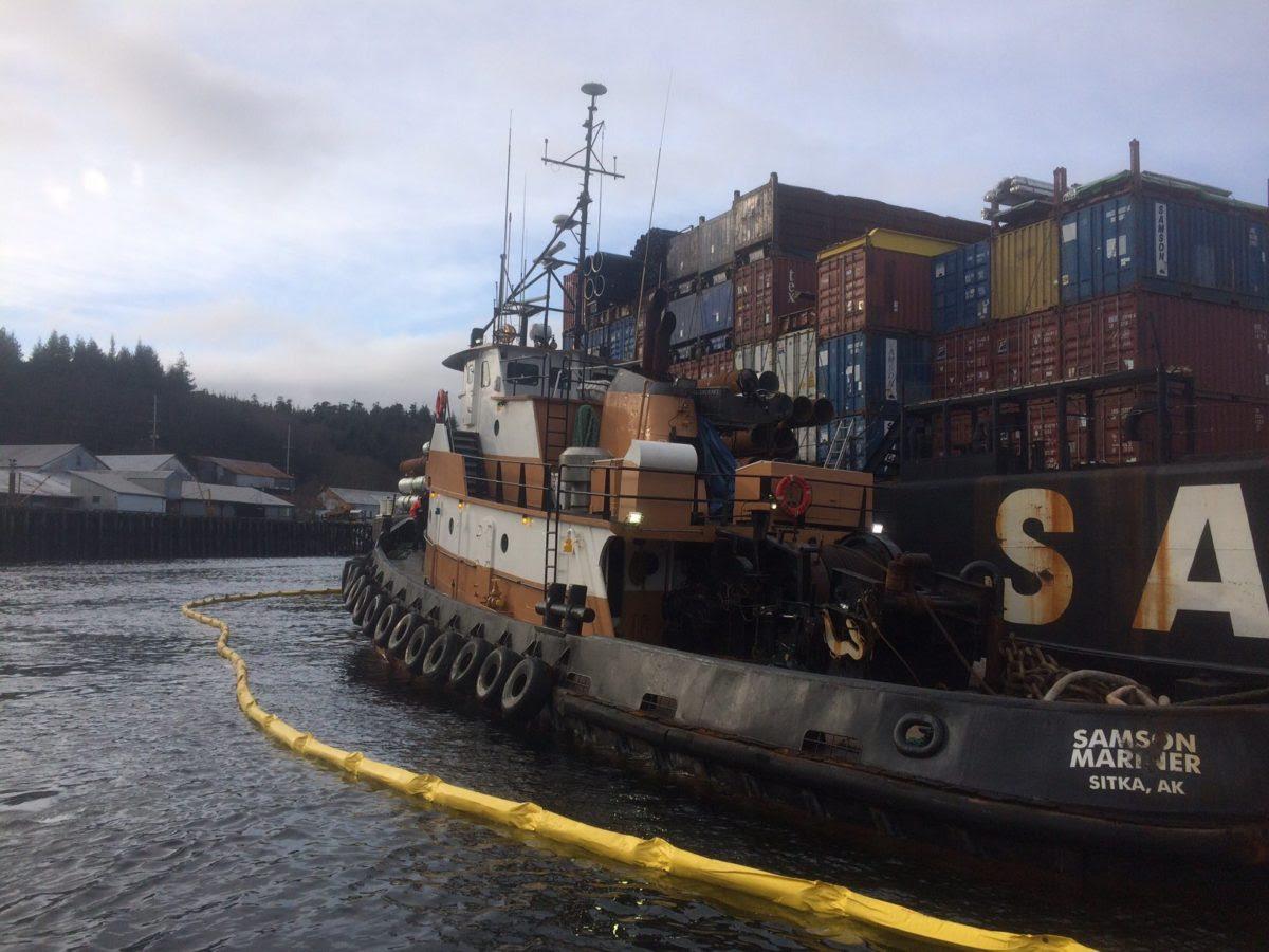 The tug Samson Mariner alongside the cargo barge St. Elias anchored in Ward Cove, Alaska. U.S. Coast Guard Photo