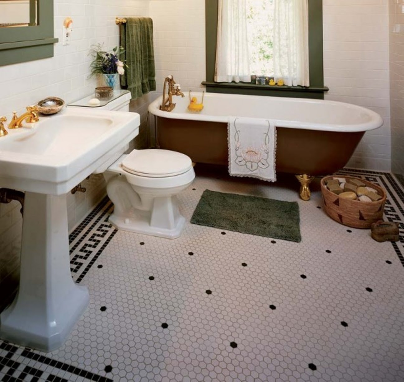 30 Ideas on using hex tiles for bathroom floors