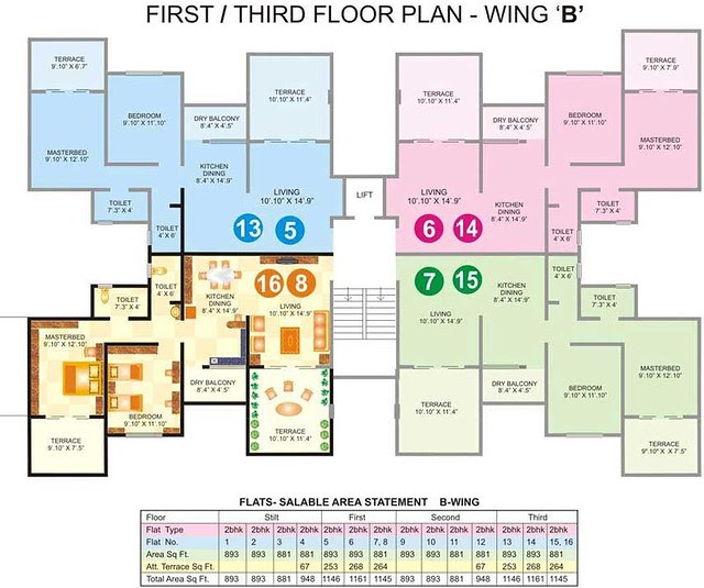 1st & 3rd Floor Plan of B Wing in Gawade Buildcon's Unique Enclave - 2 BHK Flats next to Sulzon One Earth Campus at Sade-Satara-Nali Gram Panchayat, Hadapsar, Pune 411028