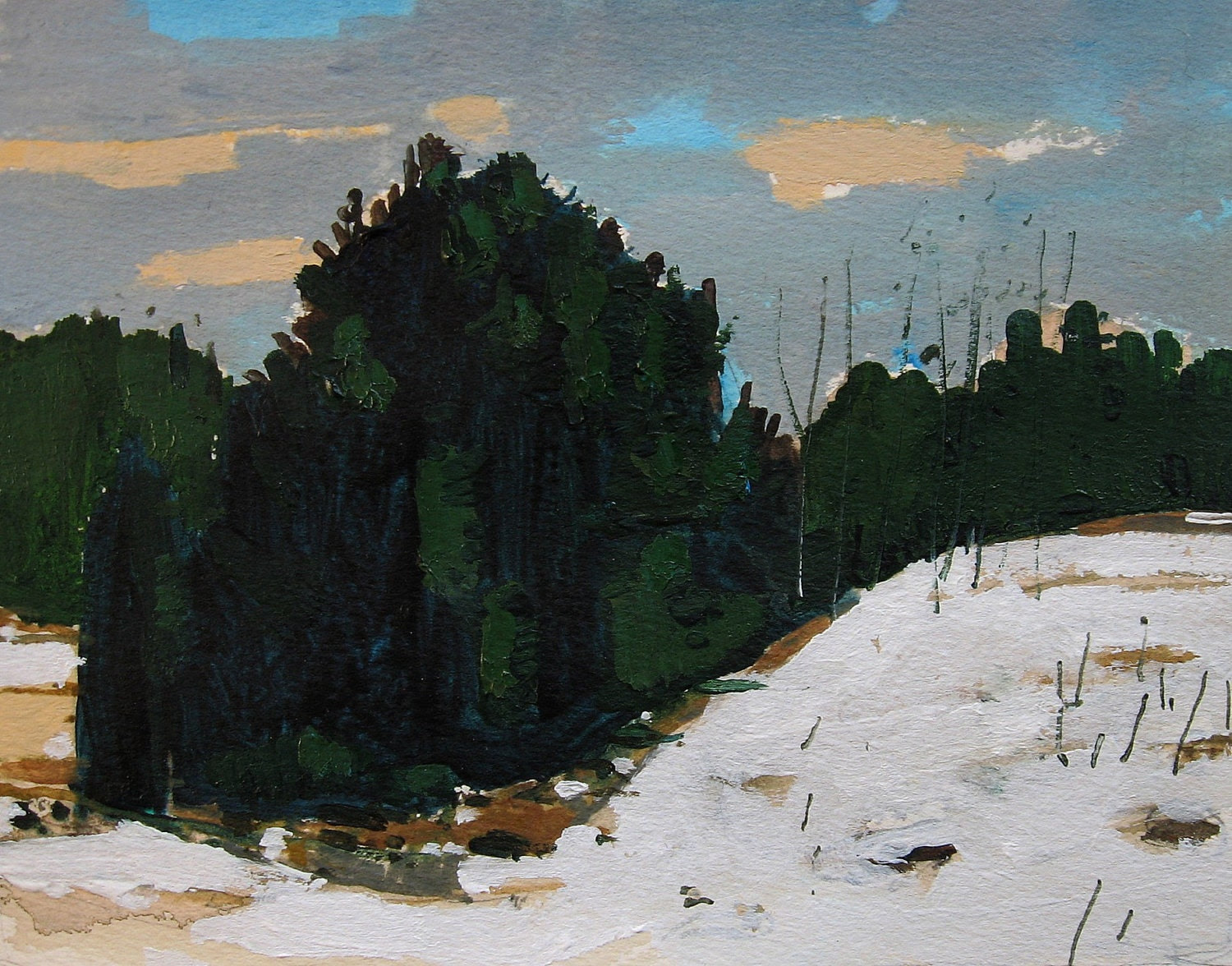 Tree Line, Back Acres, Original Landscape Painting on Paper, Canada