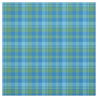 Blue and Green Morning Glory Plaid Pattern Fabric