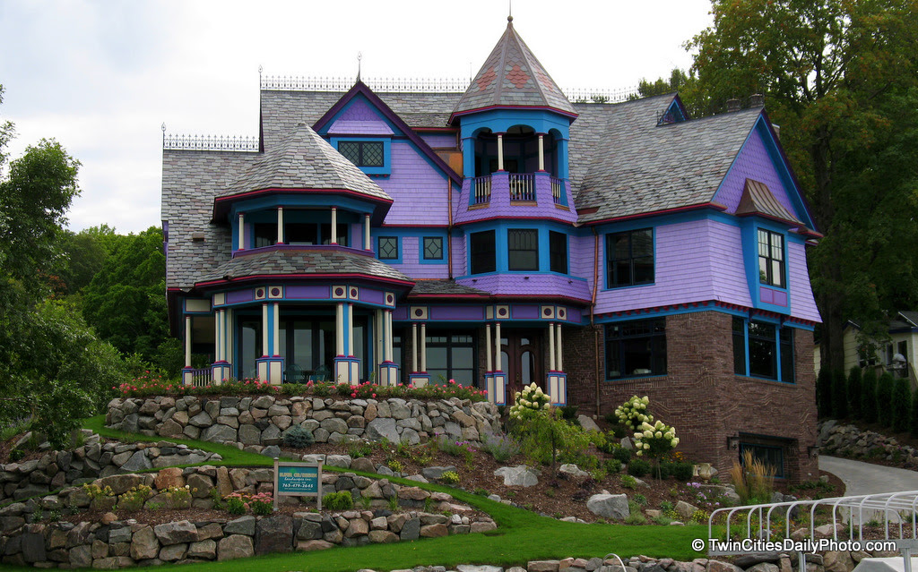 The purple home can be found on Prior Lake and is quite the eye catcher. I wish you could see this home in person, the photo doesn't do it justice as there is so much to look at.