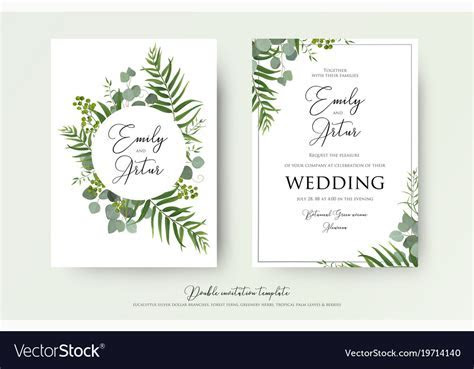 Greenery floral wedding invitation card design Vector Image