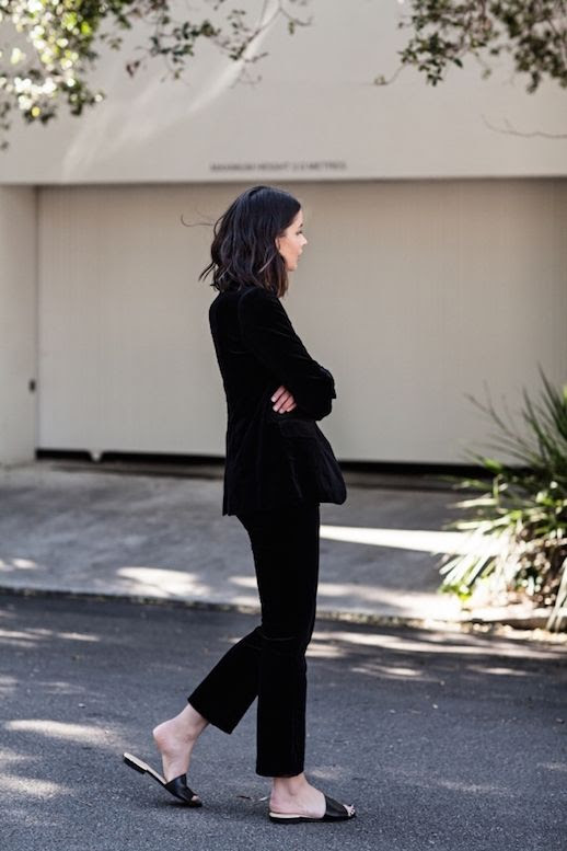 Le Fashion Blog Velvet Blazer Velvet Pants Black Slides Via Harper And Harley