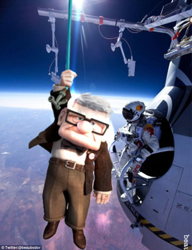 Going viral: Felix Baumgartner's daredevil space jump stunt has been spoofed online in memes including this one of the animated Up character Carl Fredricksen floating past the skydiver as he prepares to jump