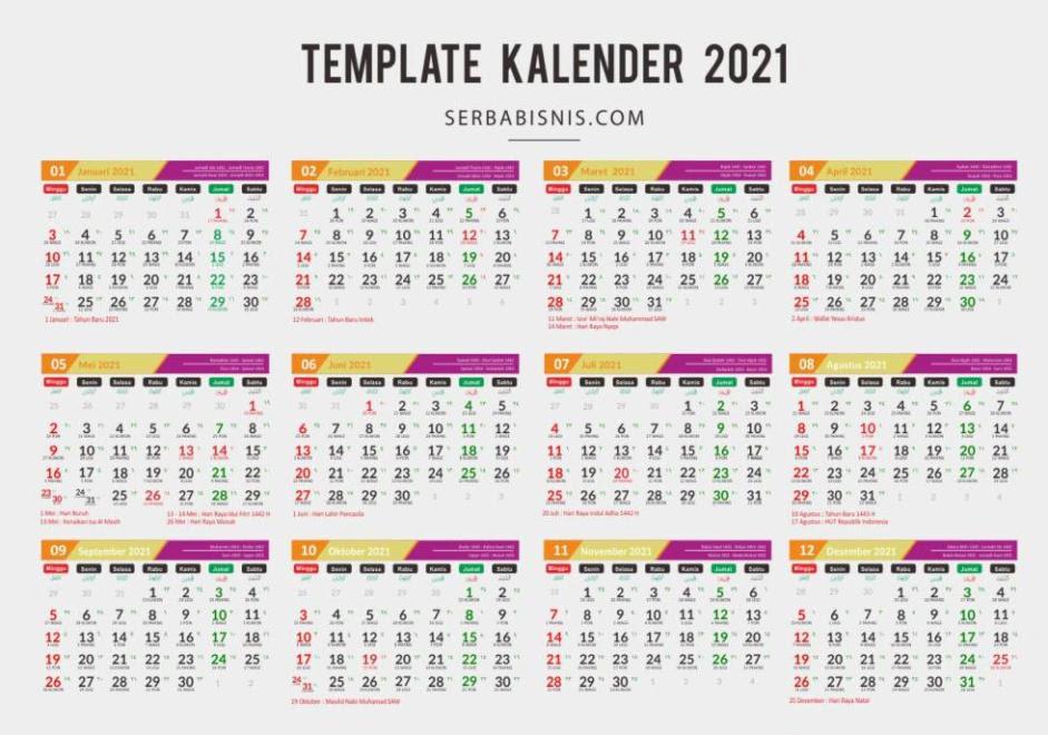 Template Kalender 2021 Lucu Pdf - Celoteh Bijak