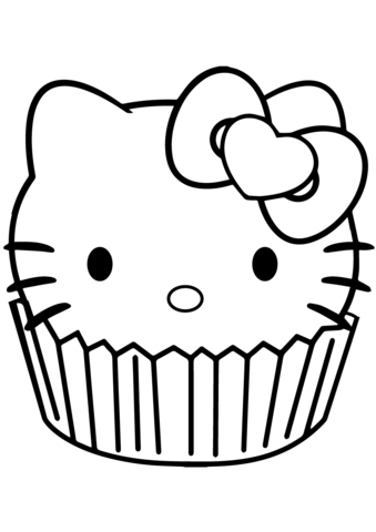 hello kitty cupcake coloring page  free printable