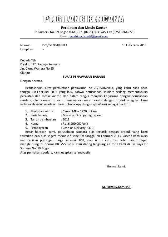 contoh surat penawaran barang