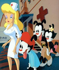 Wakko, Yakko, and maybe Dot ogle the Warner Brothers studio nurse.