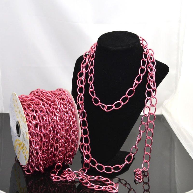 74211517 Chain - 19 x 13 mm Coloured Aluminum Chain - Pink (Metre)