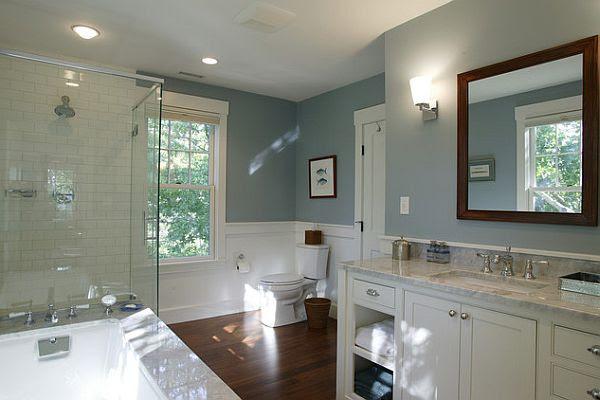 Bathroom blue, white, dark wood floors   shanon   Pinterest
