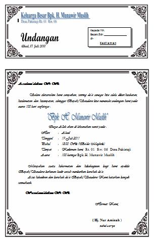 contoh undangan acara selapan contoh isi undangan