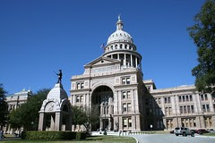 texas state capitol with blue skies
