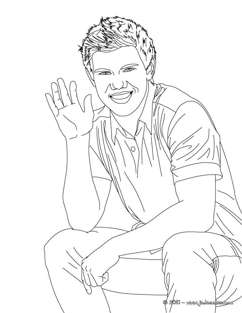 Taylor Lautner salut  colorier