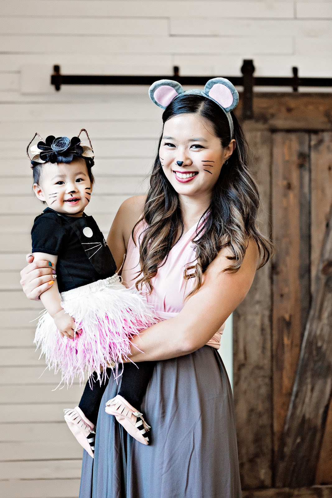 Mommy and me cat and mouse costumes