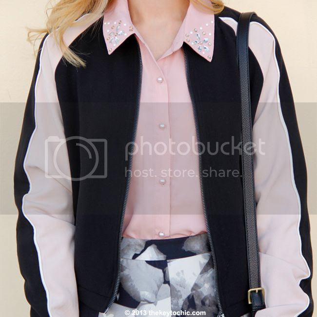 LA fashion blogger The Key To Chic wears a Mossimo colorblock bomber jacket and Mossimo printed scuba skirt