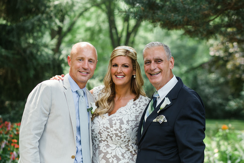 Pre-ceremony photos with the bride and groom before an intimate backyard wedding ceremony in Rockford IL. Photo by Mindy Joy Photography