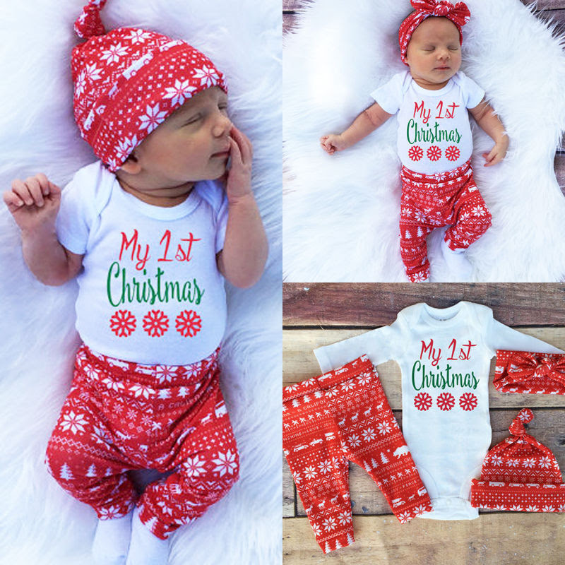 Baby Boy Girls First Christmas Clothes Long Sleeve Romper Pants Hat Outfit 3PCS  eBay