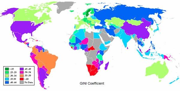 Escores mais altos de coeficiente de Gini indicam desigualdade econômica superior.  (Wikimedia Commons)