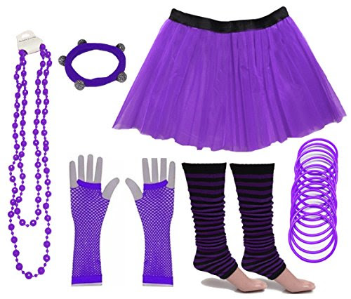 5. 1980s Tutu Skirt Costume Kit - Purple