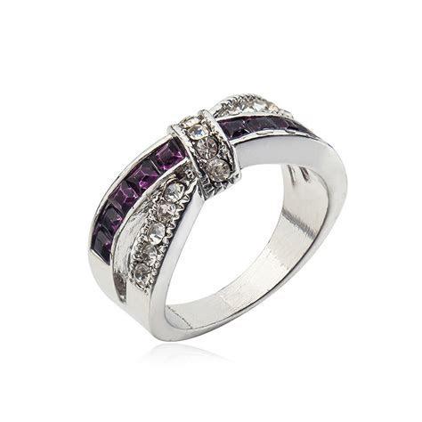 Size 6 10 Beauty Purple Amethyst Women's 14KT White Gold