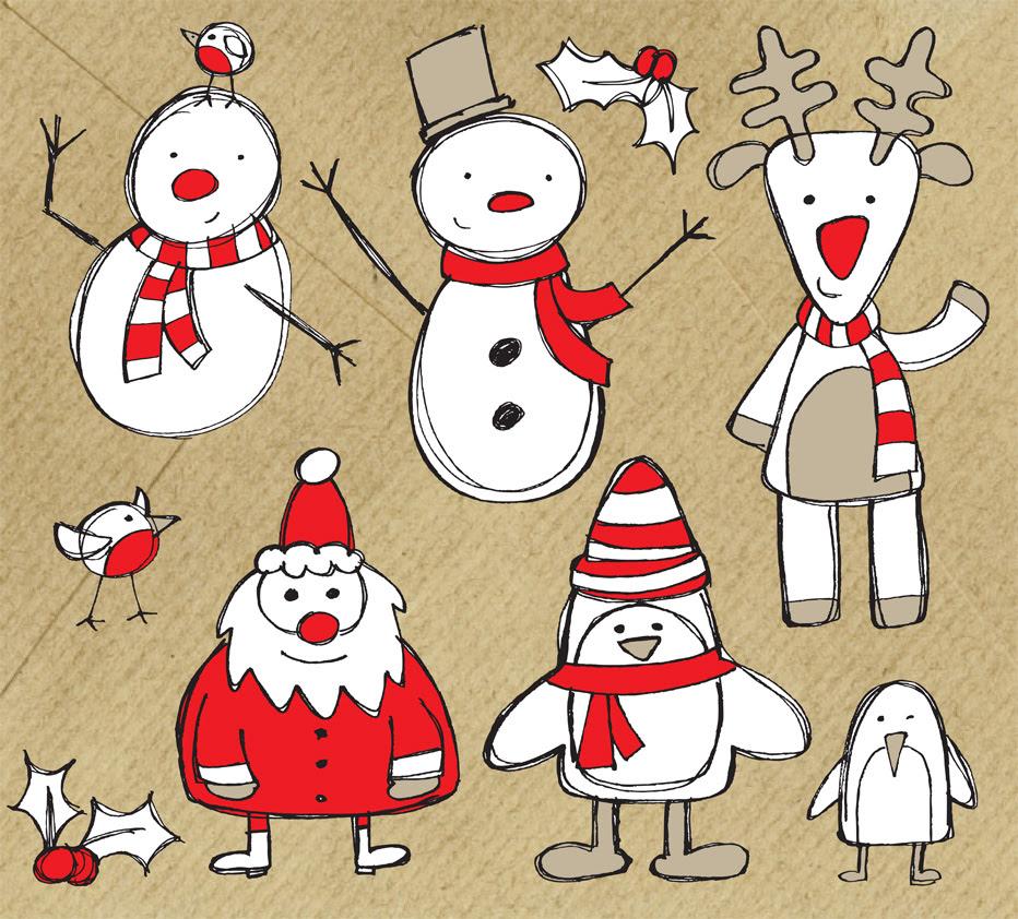 手書きスケッチ風のクリスマス無料イラスト ベクター Ai Illustrator Eps