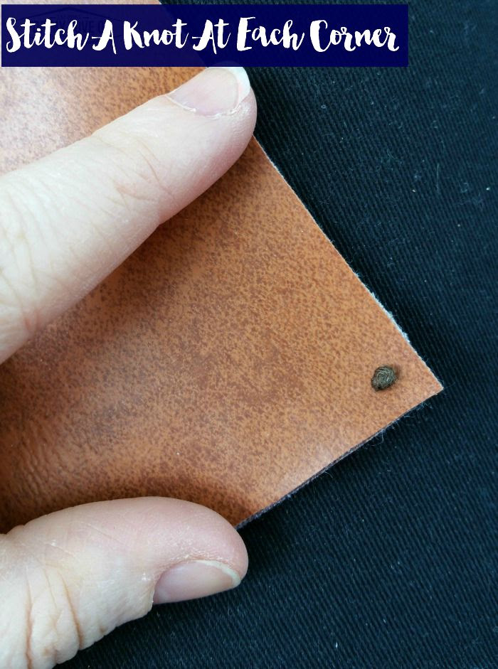 sew a knot through each corner of the two pieces of pleather, backs facing one another