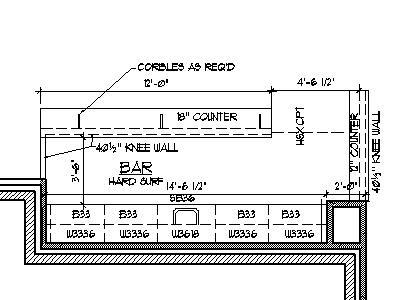 Home Bar Plans Design Blueprints Drawings Back Bar Counter Section Details