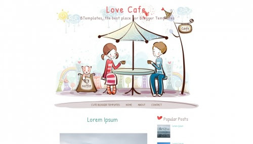 """Love Cafe"" Food and Drink Blog Templates Free + Cute Design Blog"