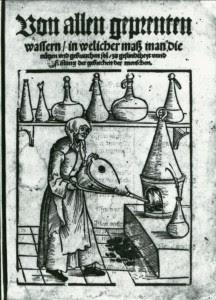 Woman with bellows. Michael Schrick, Von allen geprenten Wassern (Nürenberg: Jobst Gutknecht, 1530, title page). Image credit: National Library of Medicine.