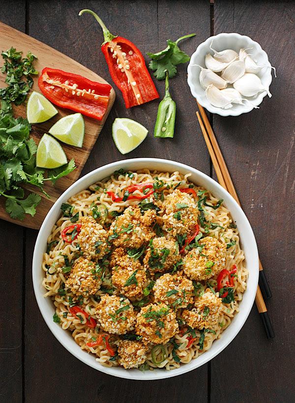 Oven Fried Shrimp and Thai Coconut Ramen Noodle Bowl ...
