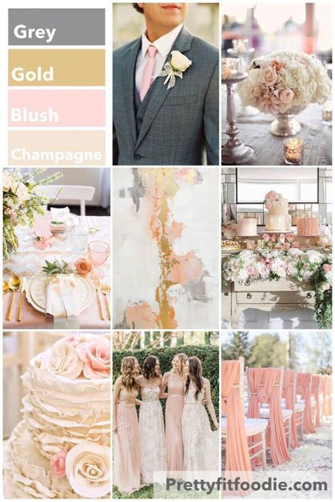 Wedding Colors of Grey, Gold, Blush, and Champagne   Love