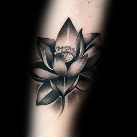 Black And Gray Lotus Tattoo Design For Men