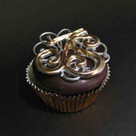 Chocolate Brooch Initials Cup Cake