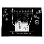 snowman with scarf and hat black and white art large gift bag