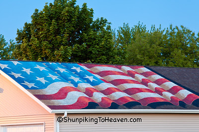 Flag on Roof of VFW Hall, Madison, Wisconsin